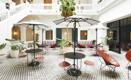 The interior courtyard of the American Trade Hotel in Panama City. Photo: Spencer Lowell.