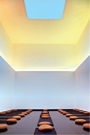 """""""Gathered Sky"""" by James Turrell at Temple Hotel in Beijing. Photo by Ben McMillan, article from the Wall Street Journal."""