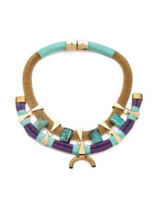 Somewhere in the Indian Ocean necklace by Holst + Lee. Handmade with nylon rope, turquoise stones, brass fixtures and woven chain.