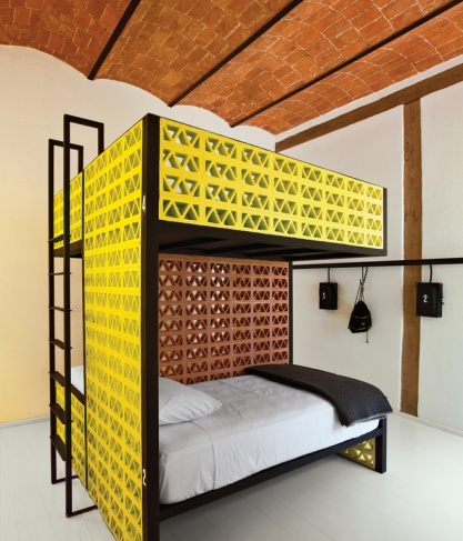 A bunkbed at Downtown Beds in central Mexico City.