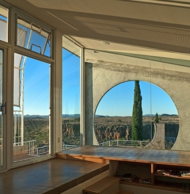 The view from the Sky Suite in Arcosanti, Arizona.