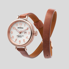 Shinola's The Birdy Double Wrap Leather Strap Watch in Women's White with Date