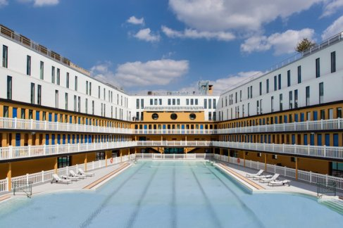 The outdoor pool at the Molitor in Paris, France.