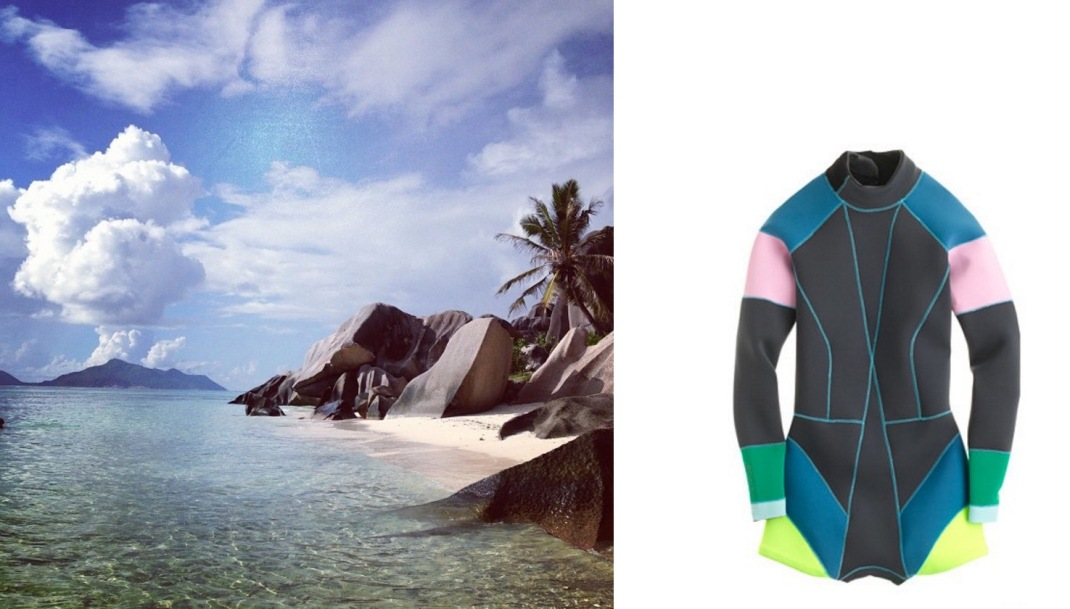 La Digue in the Seychelles (c/o Smwh.re) paired with Cynthia Rowley for J.Crew Colorblock Wetsuit.