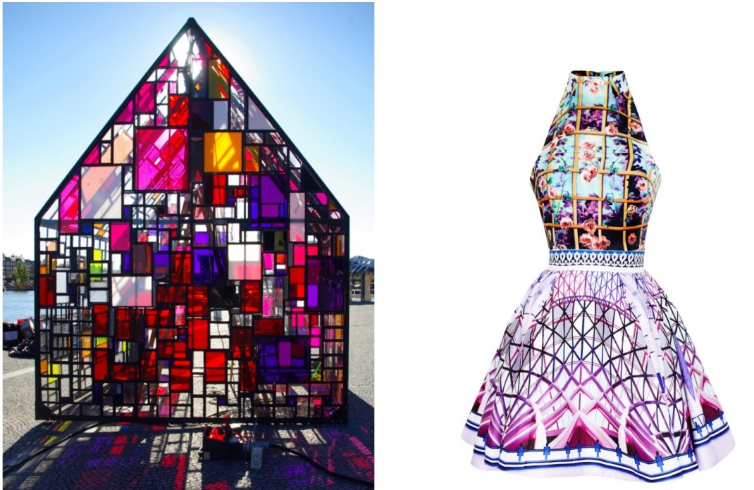 """Maxikiosko"" by Tom Fruin becomes a pop-up wedding chapel this week at the Wythe Hotel in Brooklyn, paired with Mary Katrantzou Folli Rose Trinkolo Dress."