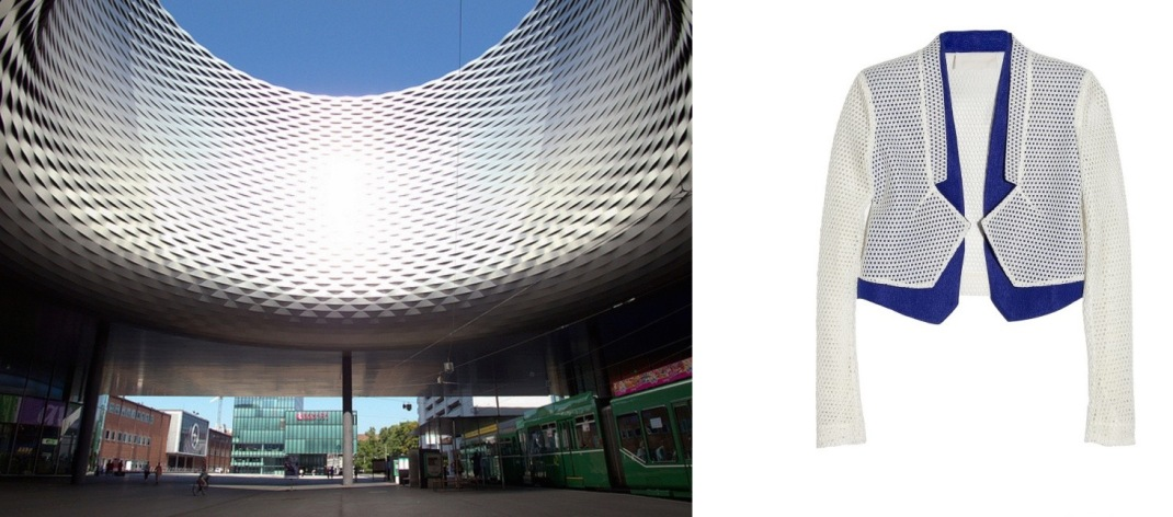 Messe Basel Exhibition Centre by Herzog & de Meuron in Basel, Switzerland paired with Antonio Berard Mesh and Cloque Blazer.
