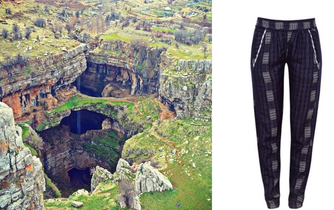 Baatara Gorge Waterfall in Tannourine, Lebanon paired with Ace & Jig Track Pants.