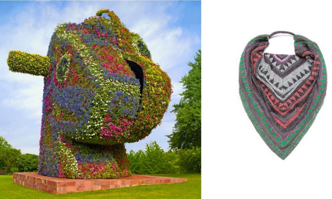 Split-Rocker by Jeff Koons, bound for Rockefeller Center in NYC paired with Roarke New York Tulum Bib/Headscarf.