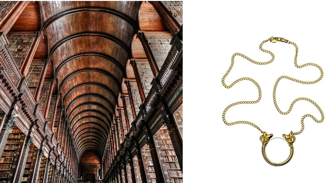 The Long Room at Trinity College Dublin paired with Kenneth Jay Lane Double Headed Ram Monocle Necklace.