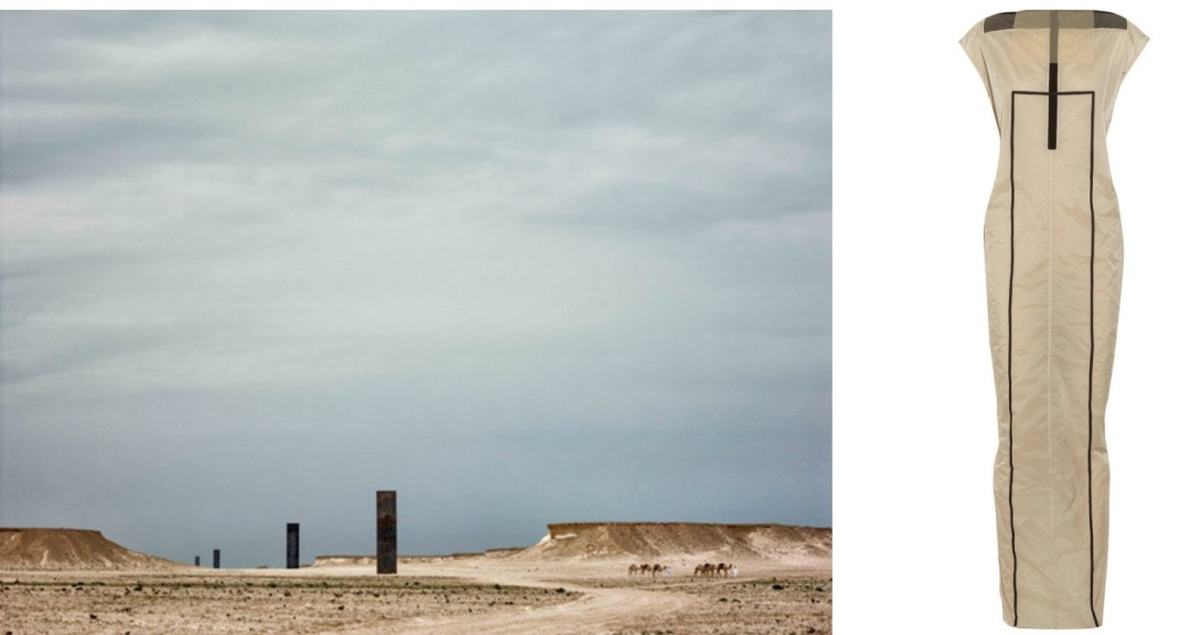 "East-West/West-East"" by Richard Serra in Qatar paired with Rick Owens Dagger Coated Chiffon Dress."