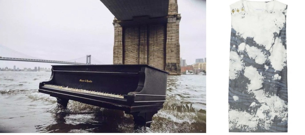 A grand piano has appeared on the Manhattan-side of the East River paired with Pierre Balmain Chambray Dress.