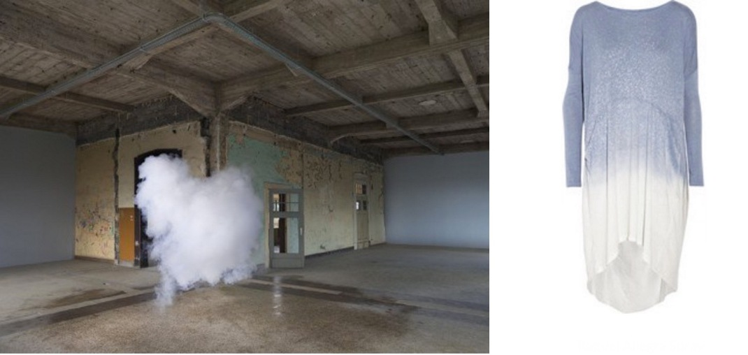 """Nimbus Thor"" by Berndnaut Smilde (2014) paired with Raquel Allegra Shredded Spray-Dye Dress."