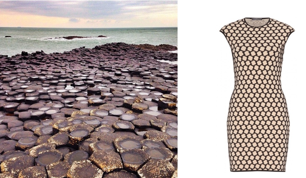 Giant's Causeway in Bushmills, Northern Ireland paired with Alexander McQueen Honeycomb Knit Dress.