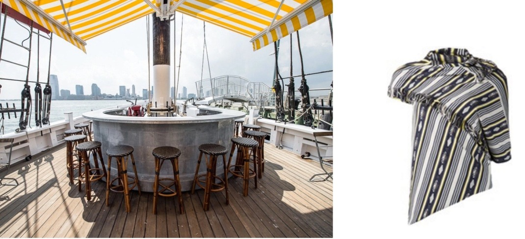Grand Banks restaurant on the F/V Sherman Zwicker, docked at Pier 25 in Tribeca paired with Junya Watanabe Navajo-Print Asymmetric Top.