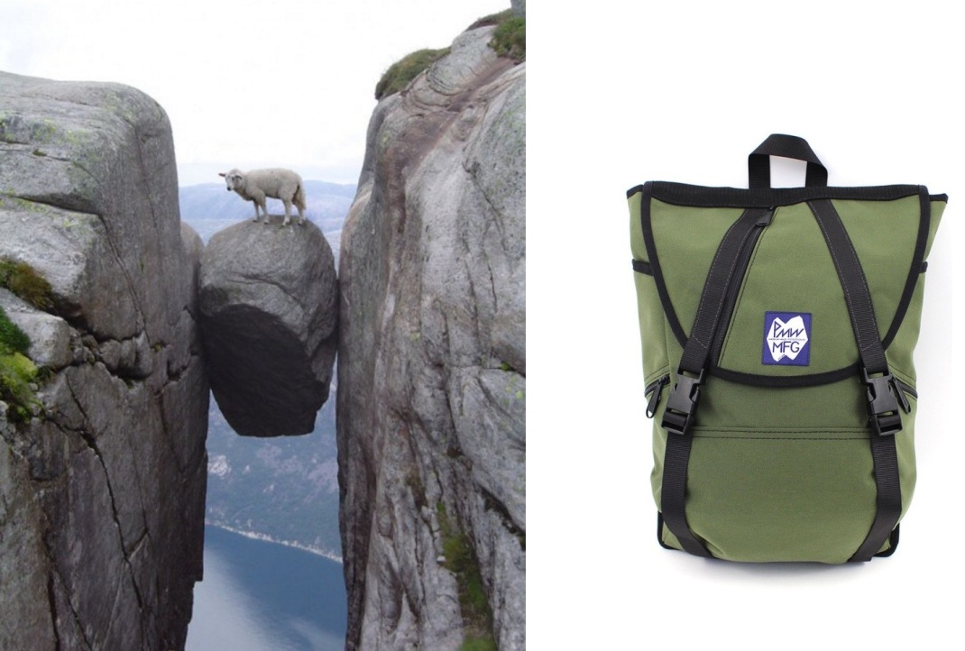 Kjeragbolten in Rogaland, Norway paired with Peters Mountain Works Ohayo Backpack.