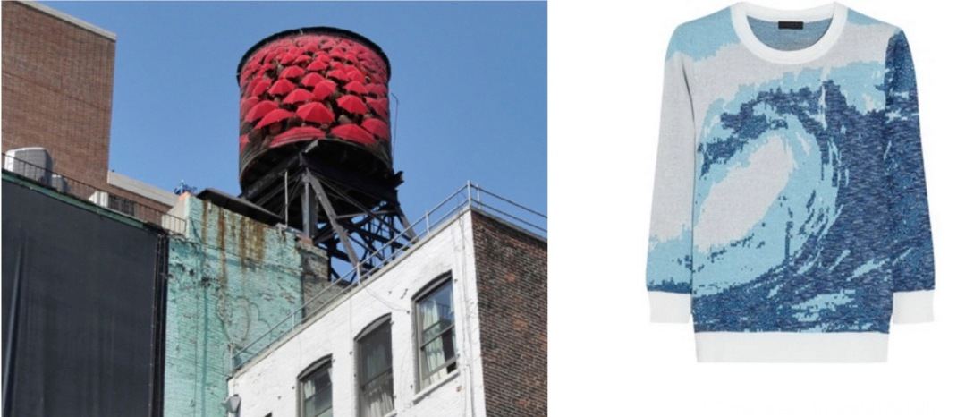 The Water Tank Project in New York City paired with J.Crew Wave-Intarsia Metallic Sweater.