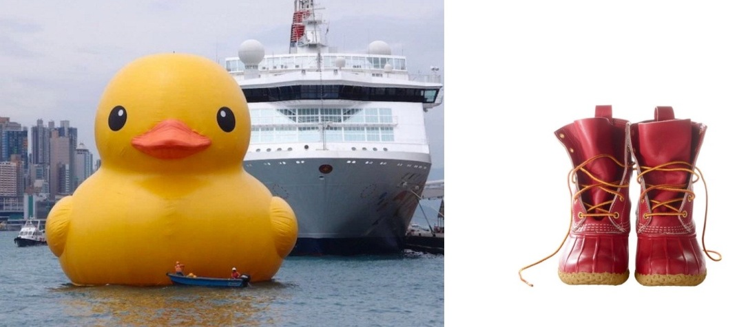 A Rubber Duck by A Rubber Duck, by Dutch artist Florentijn Hofman, is docked in the Port of Los Angeles through Sunday, paired with L.L.Bean Special-Edition Bean Boots in Colonial Red.