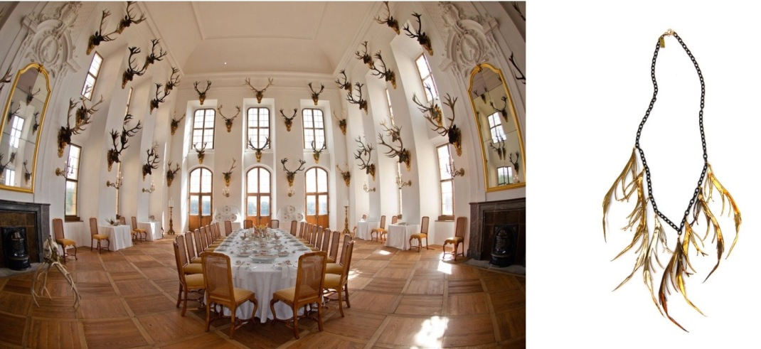 The renovated banquet hall of Moritzburg Castle in Moritzburg, Germany paired with K/LLR Collection Brass Feather Bib.