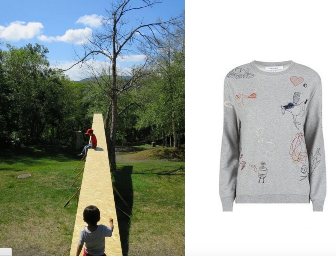 Air Garden by Ryo Yamada for the Sapporo International Art Festival 2014 paired with Carven Embroidered Sweatshirt.