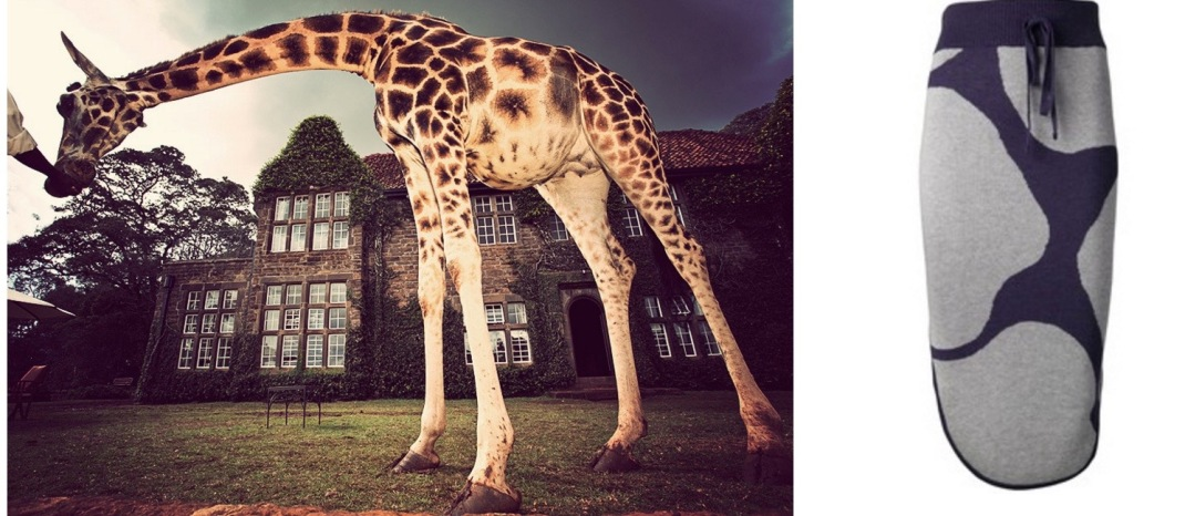 Giraffe Manor near Nairobi, Kenya paired with Vivienne Westwood Alpine Skirt.