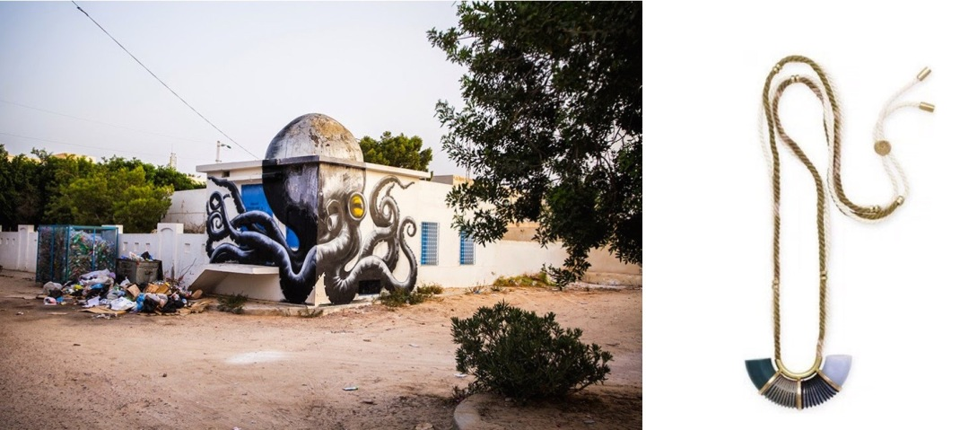 A mural by Belgian street artist ROA in Dierba, Tunisia paired with Elke Surge Pendant.