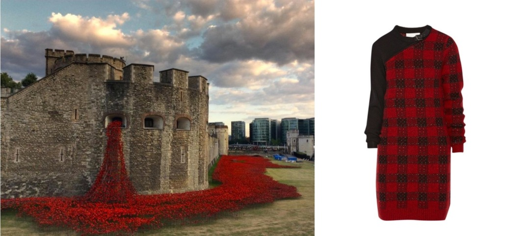 Blood Swept Lands and Seas of Red by Paul Cummins at the Tower of London paired with 3.1 Phillip Lim Plaid Wool-Blend Dress.