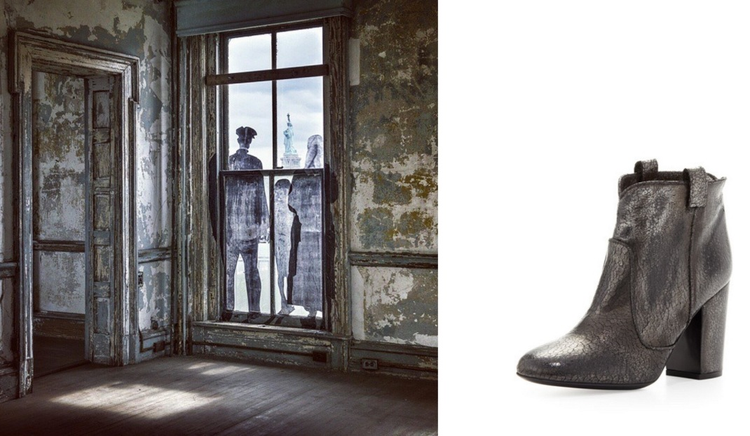 """Unframed — Ellis Island"" by JR at the former Ellis Island Immigrant Hospital in the Hudson River, NY paired with Laurence Dacade Pete Distressed Crackled Boot."