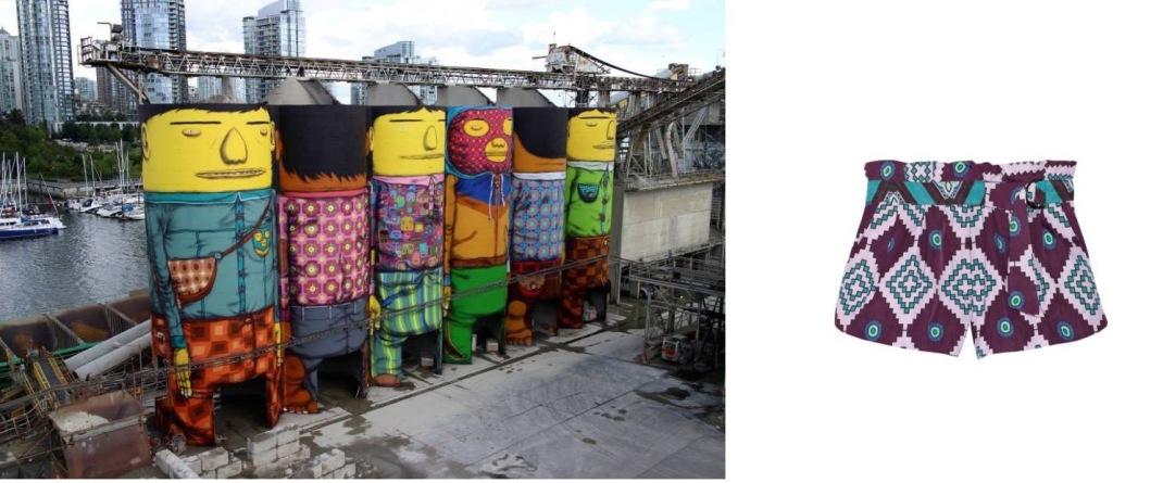 A Giants installation by Os Gêmeos on Granville Island for the Vancouver Biennale paired with Suno Printed Faille Shorts.