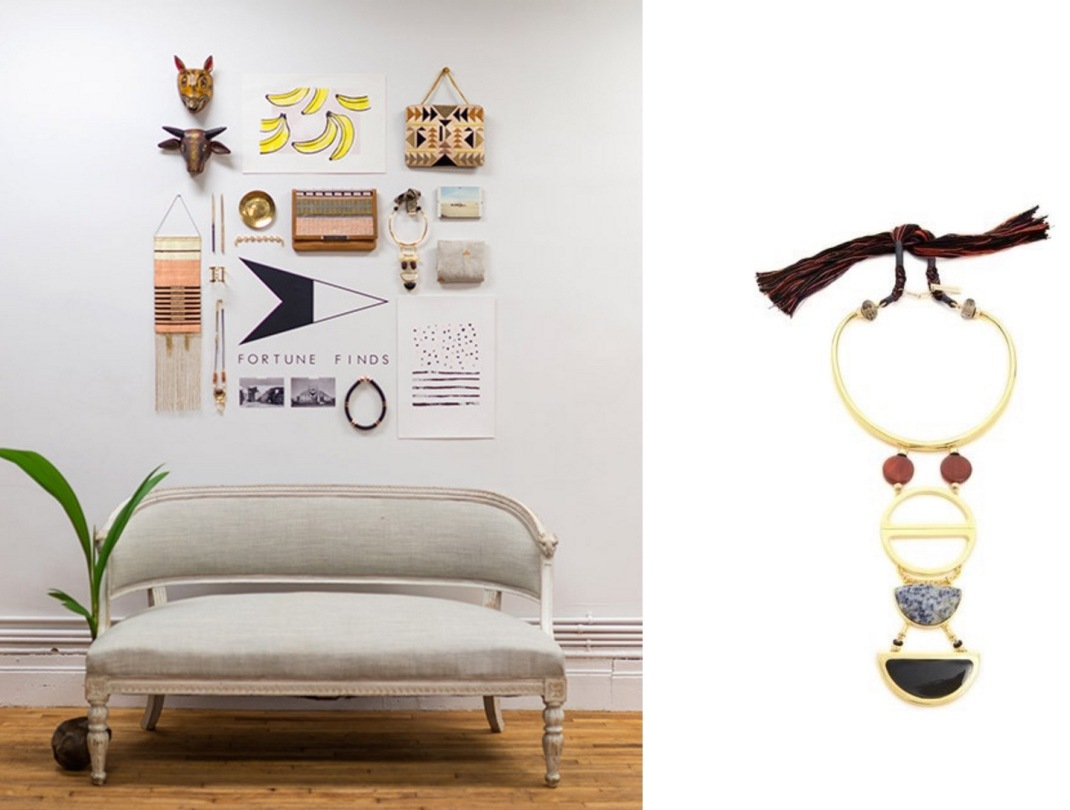 Fortune Finds Pop-Up Shop at 217 Centre Street in SoHo, NYC (Design*Sponge) paired with Lizzie Fortunato Objet d'Art Necklace.