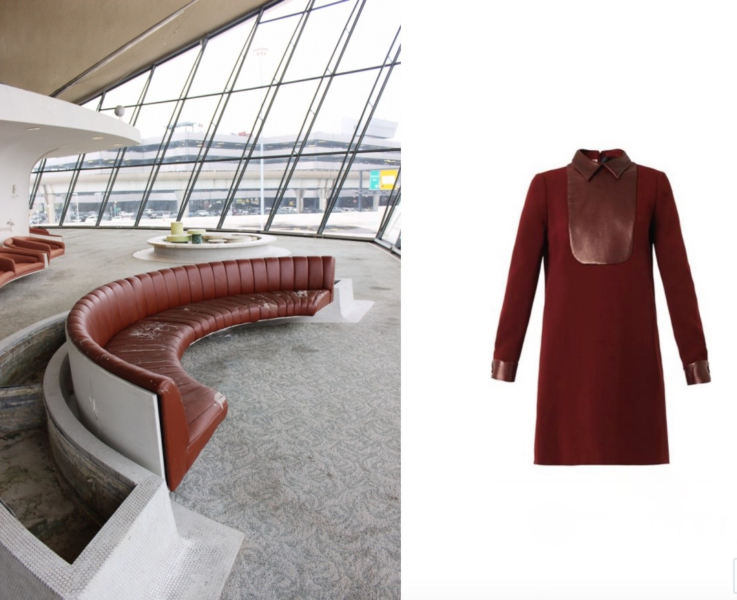 Eero Saarinen's TWA Flight Center at JFK Airport in Queens, NY paired with Gucci Leather-Bib Cady Dress.