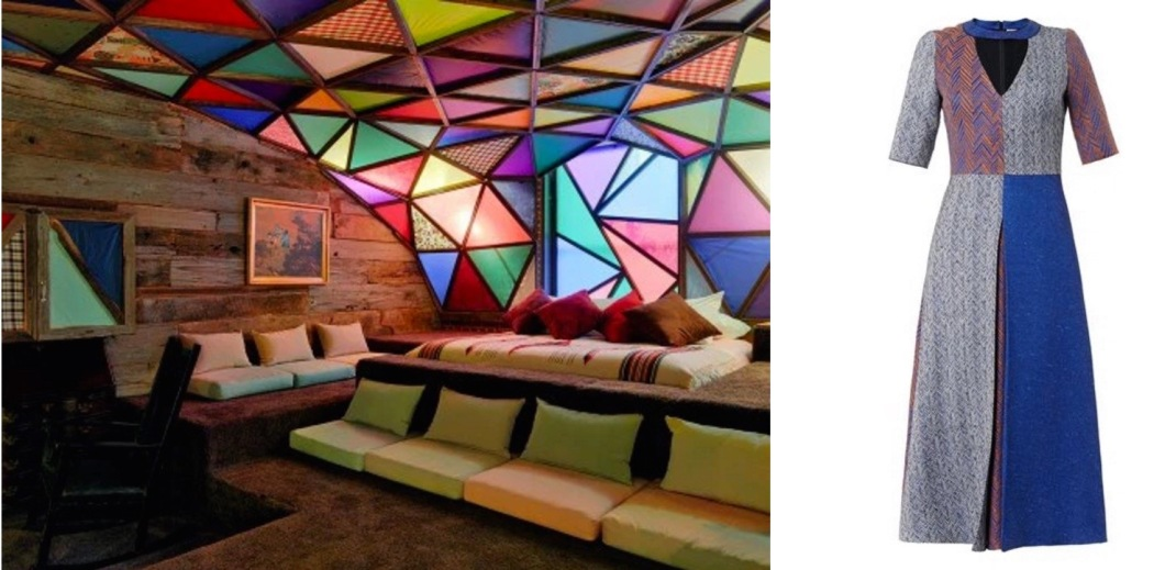 """""""Asleep in the Cyclone,"""" a site-specific installation/functional hotel room at the 21c Museum Hotel in Louisville, KY paired with Roksanda Layne Patchwork Herringbone Dress."""