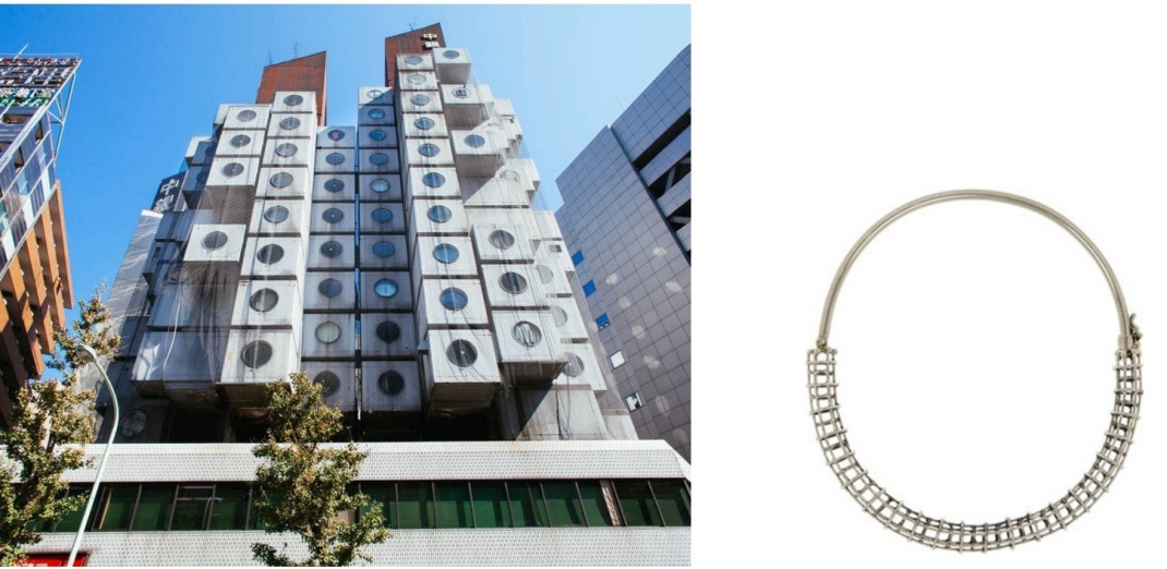 The Nakagin Capsule Tower by architect Kisho Kurokawa in Tokyo paired with Anndra Neen Caged Tube Choker.
