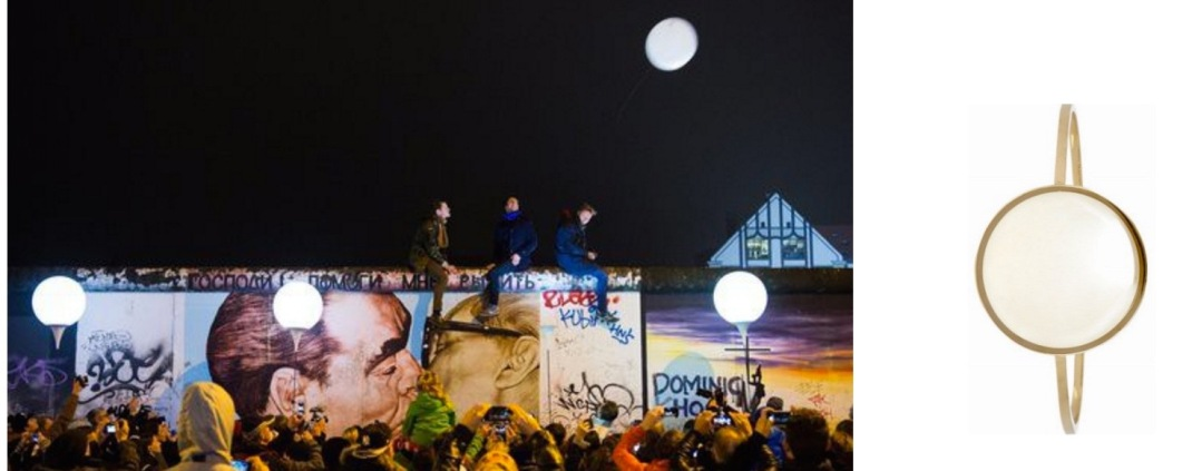 """Border of Light"" balloons were released into the sky last night in Berlin (c/o The New York Times/ Lukas Schulze of European Pressphoto Agency) paired with Isabel Marant Buffalo Bone Bangle."