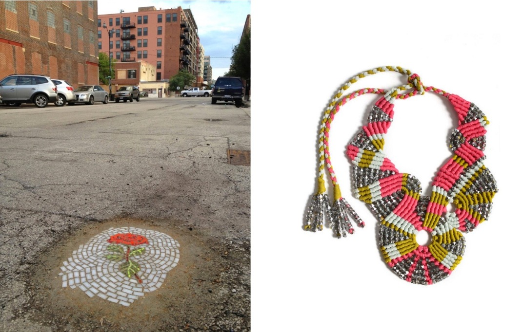 A new rose mosaic by Jim Bachor at 100 block of North Sangamon in Chicago (c/o Collosal) paired with Tammy Tiranasar Jewelry Macramé Silk Necklace (c/o Cool Hunting).