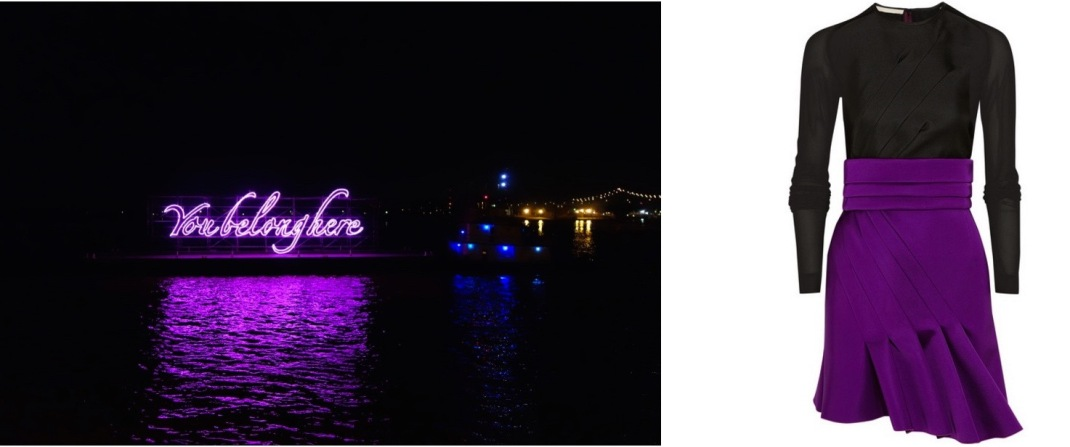 """Tavares Strachan's """"You Belong Here"""" is sailing down the Mississippi as part of New Orleans' Prospect.3 biennial paired with Antonio Berardi Pleated Mini Dress."""