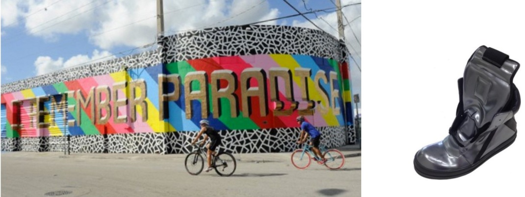 """I Remember Paradise"" by British graphic artist Lakwena for the Women on the Walls program in the Wynwood Arts District of Miami paired with a AB/MB collab between Airball x Rick Owens, spawned by Alchemist boutique's basketball-inspired pop-up."