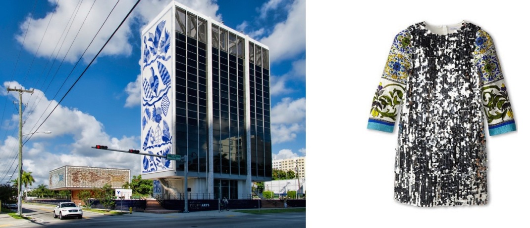 Once the Bacardi plaza, now home to the National YoungArts Foundation in Miami, FL (photo by by Dan Lundberg) paired with Dolce & Gabbana Print Sequin Shift Dress (Big Kids).