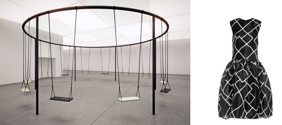 Swings, a Caesarstone installation by London designer Philippe Malouin, for this week's Interior Design Show in Toronto (c/o dezeen) paired with Ellery Meridian Organza Dress.