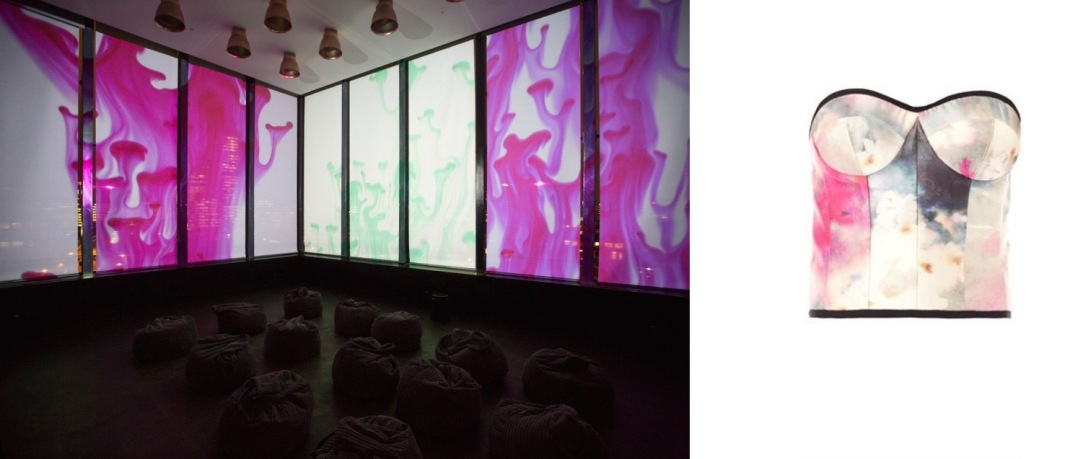 The Joshua Light Show, staged through Sunday at the Ace Hotel in Shoreditch, London (c/o Cool Hunting) paired with Honor Watercolour-Print Bustier Top.
