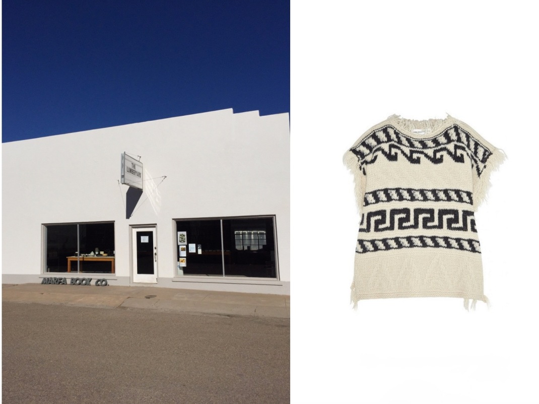 Marfa Book Co. in Marfa, Texas (photo c/o Brooke) paired with Étoile Isabel Marant Texas Knitted Poncho.