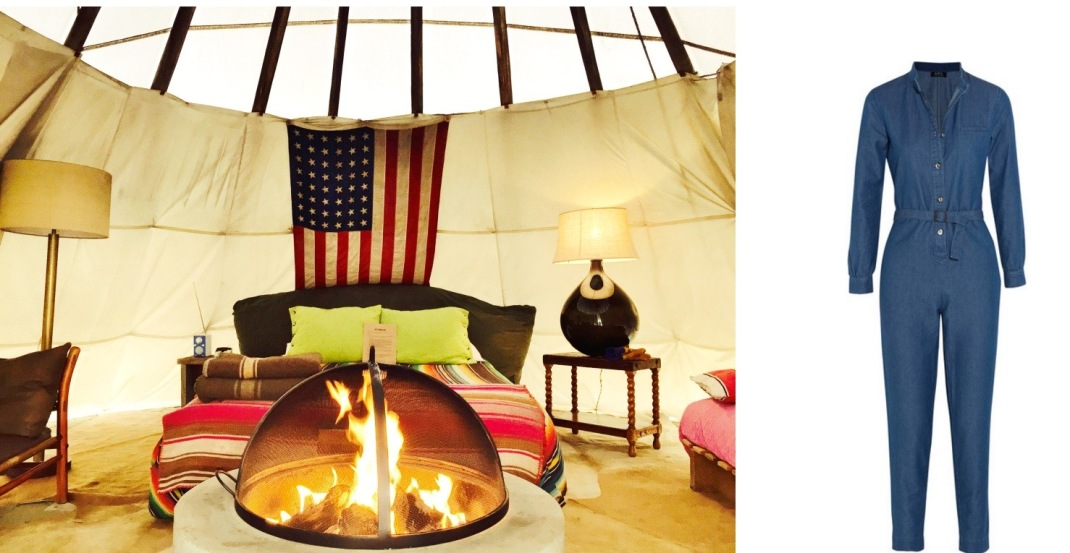 My Teepee at El Cosmico in Marfa, TX (my photo!) paired with A.P.C. Texas Jumpsuit.