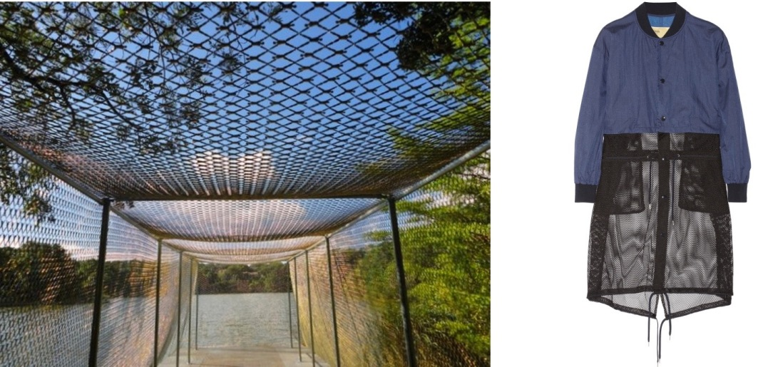 """Net-Work by Do Ho Suh at the Austin Contemporary Laguna Gloria/Betty and Edward Marcus Sculpture Park in Austin, TX paired with Toga Convertible Shell and Mesh Jacket."