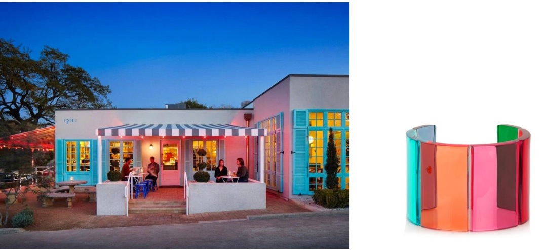 Elizabeth Street Café on South First in Austin, TX paired with Valentino Plexiglass Cuff.