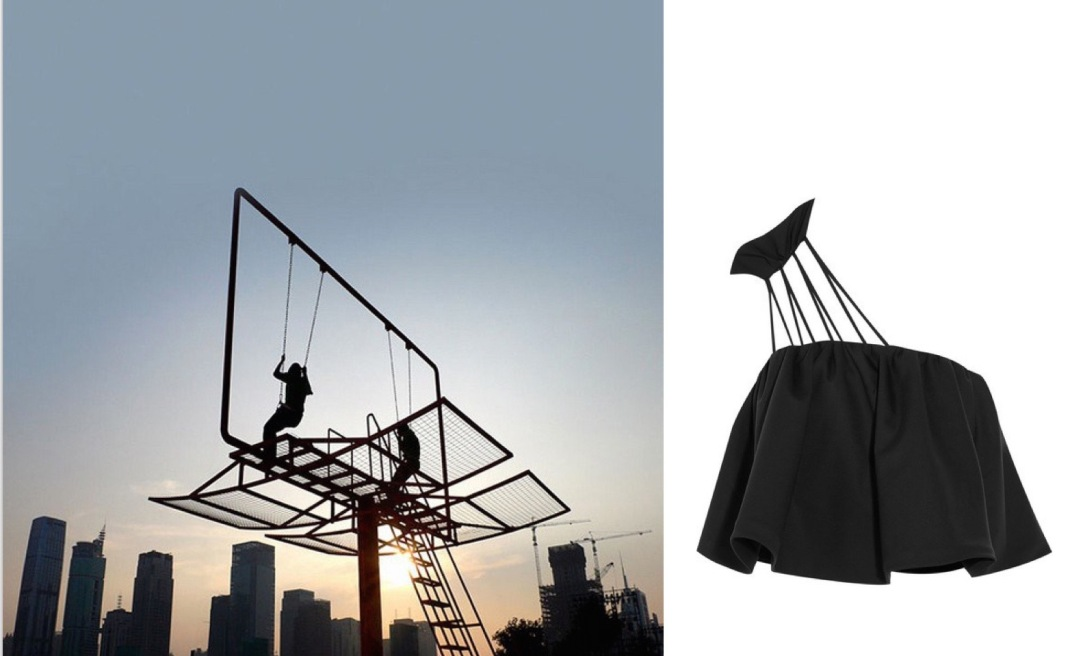 "Architect Didier Faustino created ""Double Happiness,"" a swing set within a billboard, for the 2011 Shenzhen-Hong Kong Biennial paired with Vika Gazinskaya Cropped Wool Top."