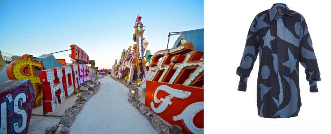 The Neon Museum in Las Vegas, NV paired with Vivienne Westwood Anglomania Lottie Denim Shirt Dress.