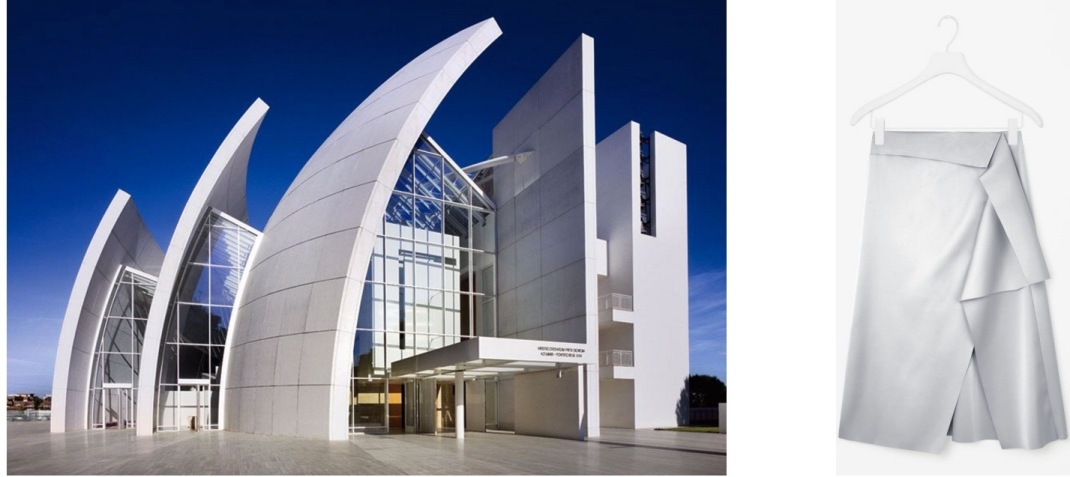 Richard Meier's Jubilee Church in Rome, Italy (Photo by Roland Halbe) paired with Cos Draped Skirt.