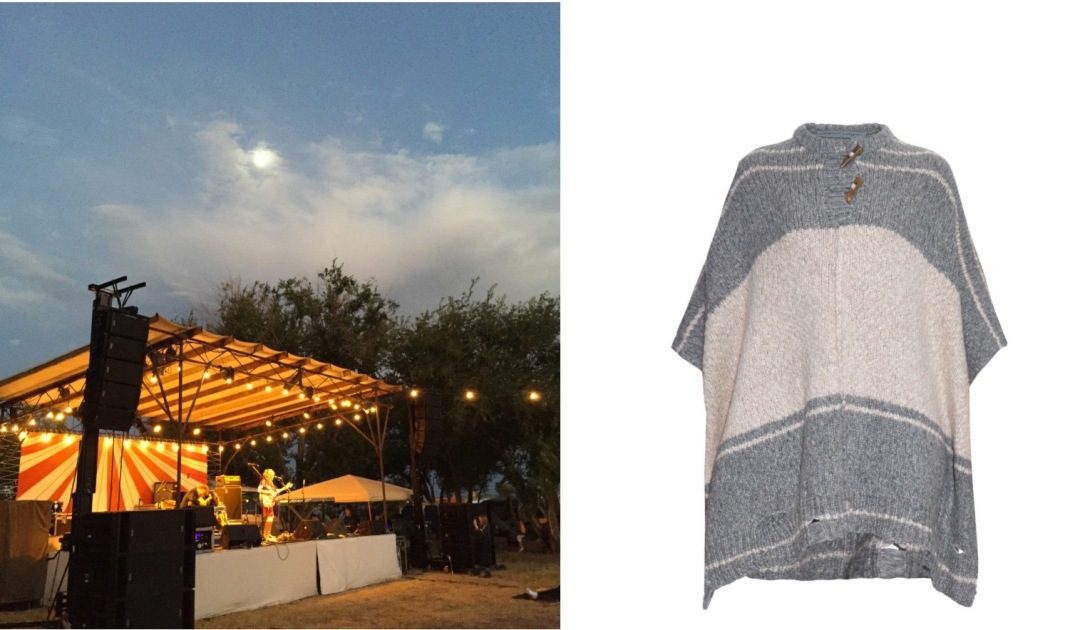 Thursday night at the Trans-Pecos Festival of Music and Love at El Cosmico in Marfa, TX (Photo: Brooke) paired with Raquel Allegra Bi-Color Alpaca Poncho.