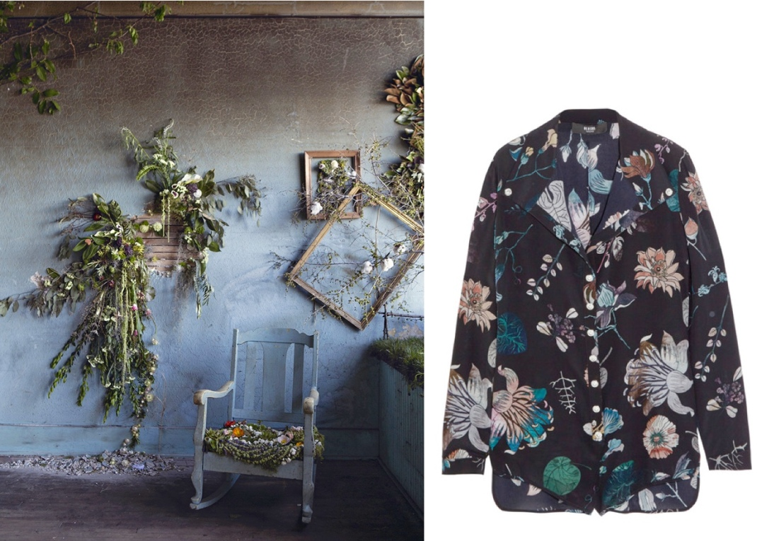 Flower House in Detroit (Photo by Heather Saunders) paired with Versus Floral Print Playsuit.