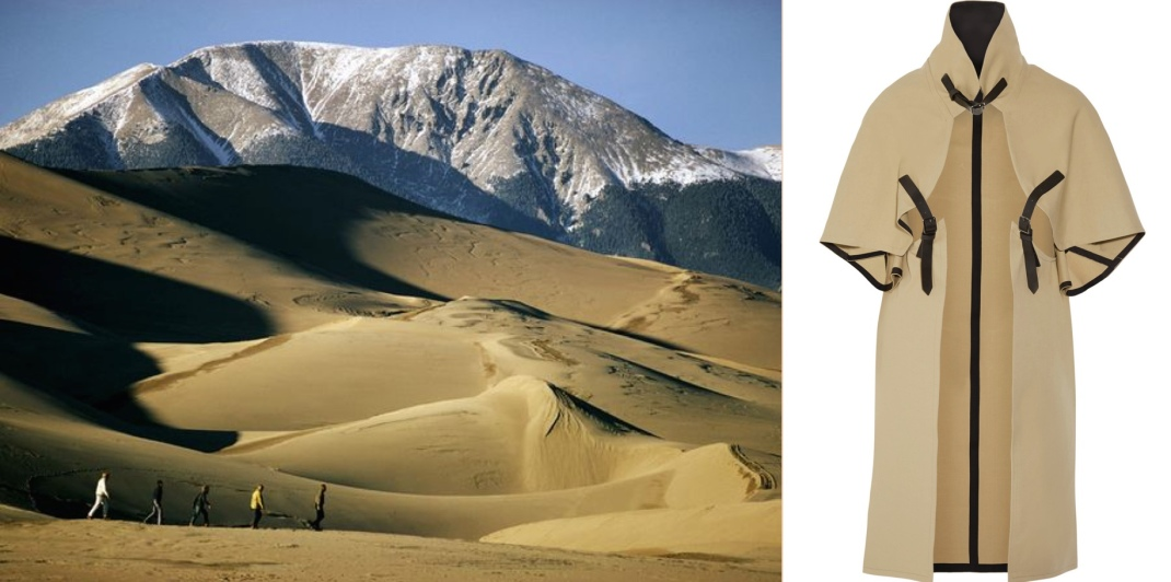 Great Sand Dunes National Park and Preserve in Colorado paired with Victoria Beckham's cotton-gabardine cape.