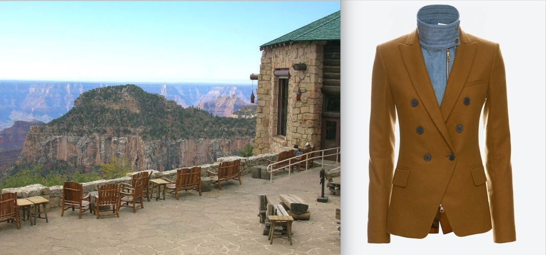 The Grand Canyon Lodge at the North Rim paired with Veronica Beard's Intermix-Exclusive Denim Dickey Wool Blazer.